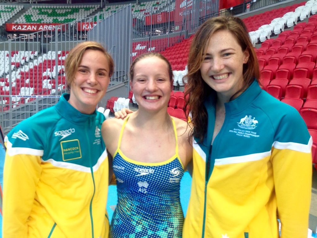 Thea at 2015 World Swim Champs in Russia. Cate & Bronte Campbell sandwich Jess Ashwood
