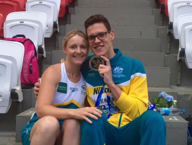 Thea congratulating Mitch Larkin in Russia