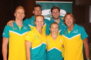 Thea with GC crew (minus Cam McEvoy) at 2015 World Swim Champs