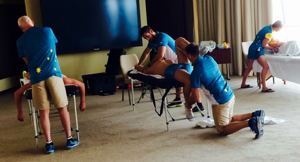 Thea with Therapy support team hard at work in staging camp pre 2015 Swim Worlds