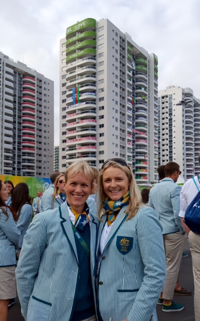 Thea & Britt all dressed up in Olympic uniform