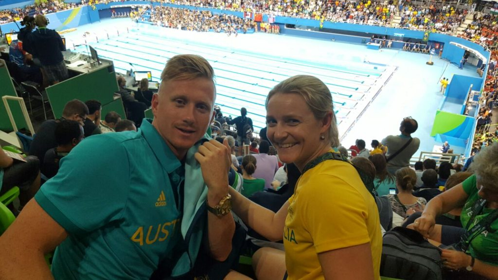 Thea at the Swimming with Dan Smith (GC Swimmer)
